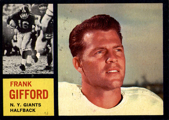 1962 Topps Frank Gifford trading card