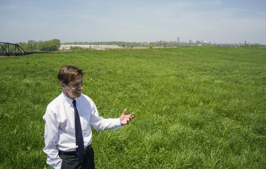 Kevin Gaughan takes in the view from a 107-acre plot of land where he wants to build a golf course designed by Jack Nicklaus. All the parties, including the City of Buffalo and the Buffalo Olmsted Parks Conservancy, need to work together to make this happen. (Derek Gee/Buffalo News)