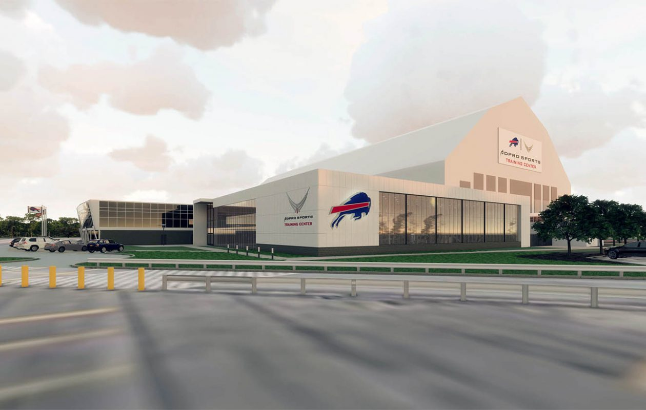 An artist's rendering of what the expanded weight room inside the ADPRO Sports Training Center will look like from the exterior. Bills officials expect the project to be completed in April 2019. (Image courtesy of the Buffalo Bills)