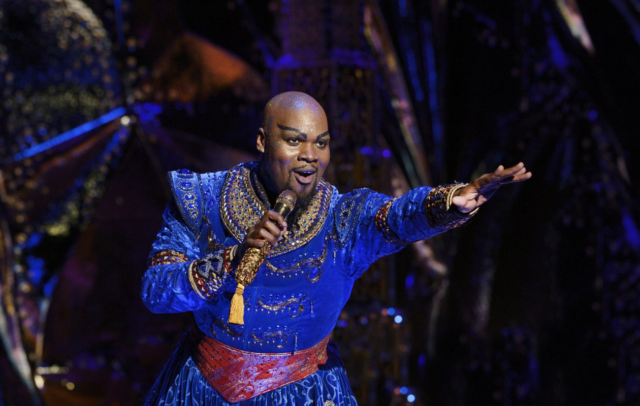 Michael James Scott is a showstopper in his magical performance as Genie in 'Aladdin,' now on stage at Shea's Buffalo Theatre. (Photo by Deen van Meer)
