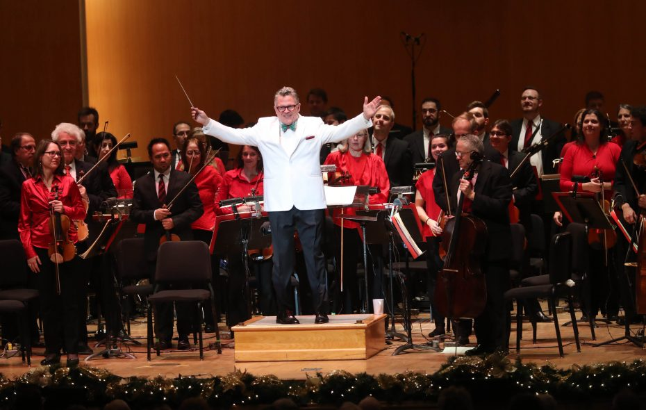 Conductor John Morris Russell and the Buffalo Philharmonic Orchestra during the first of their 2017 Holiday Pops concerts. (Sharon Cantillon/News file photo)