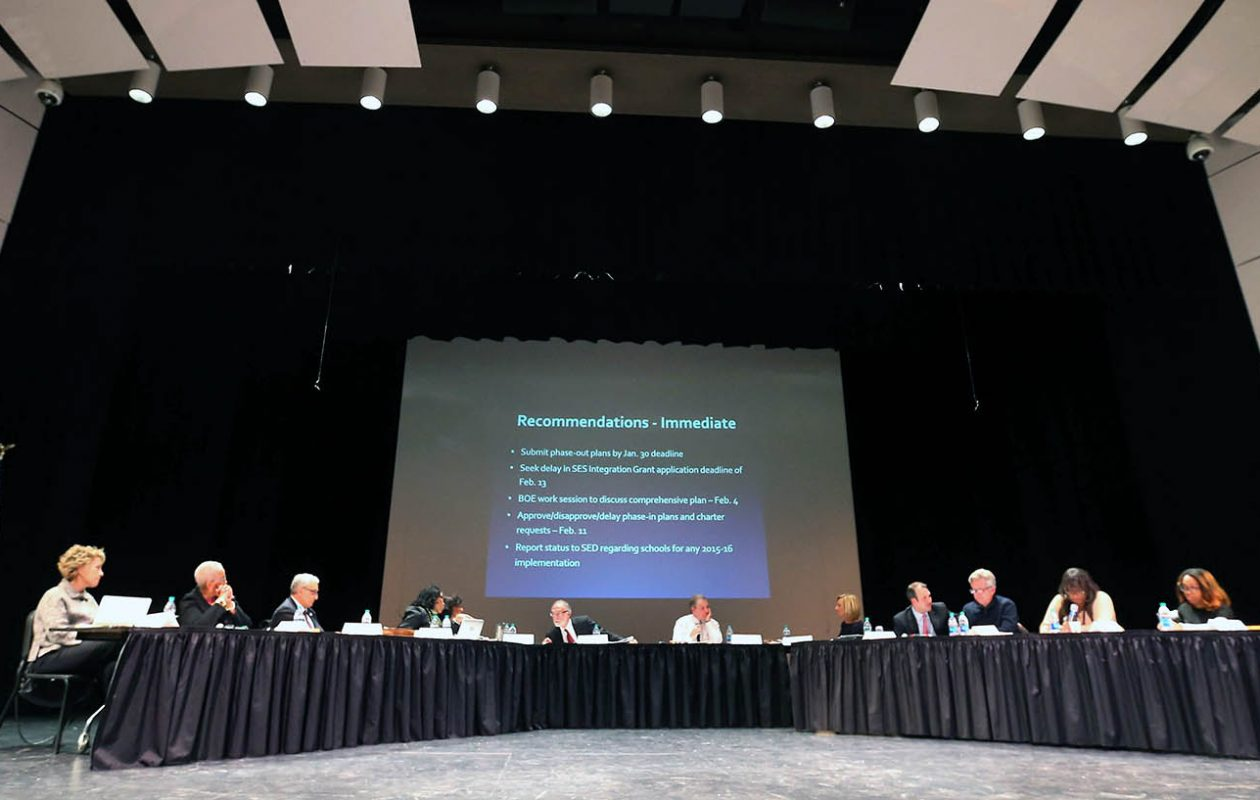 Buffalo School Board members meet at the Buffalo Academy for Visual and Performing Arts in January  2015. (Mark Mulville/News file photo)