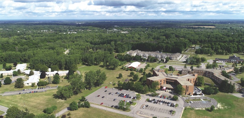 This is an aerial view of the Brothers of Mercy Nursing and Rehabilitation Center in Clarence. The organization plans a $17.5 million project to build a new assisted living and memory care facility. (Photo courtesy of the Brothers of Mercy)