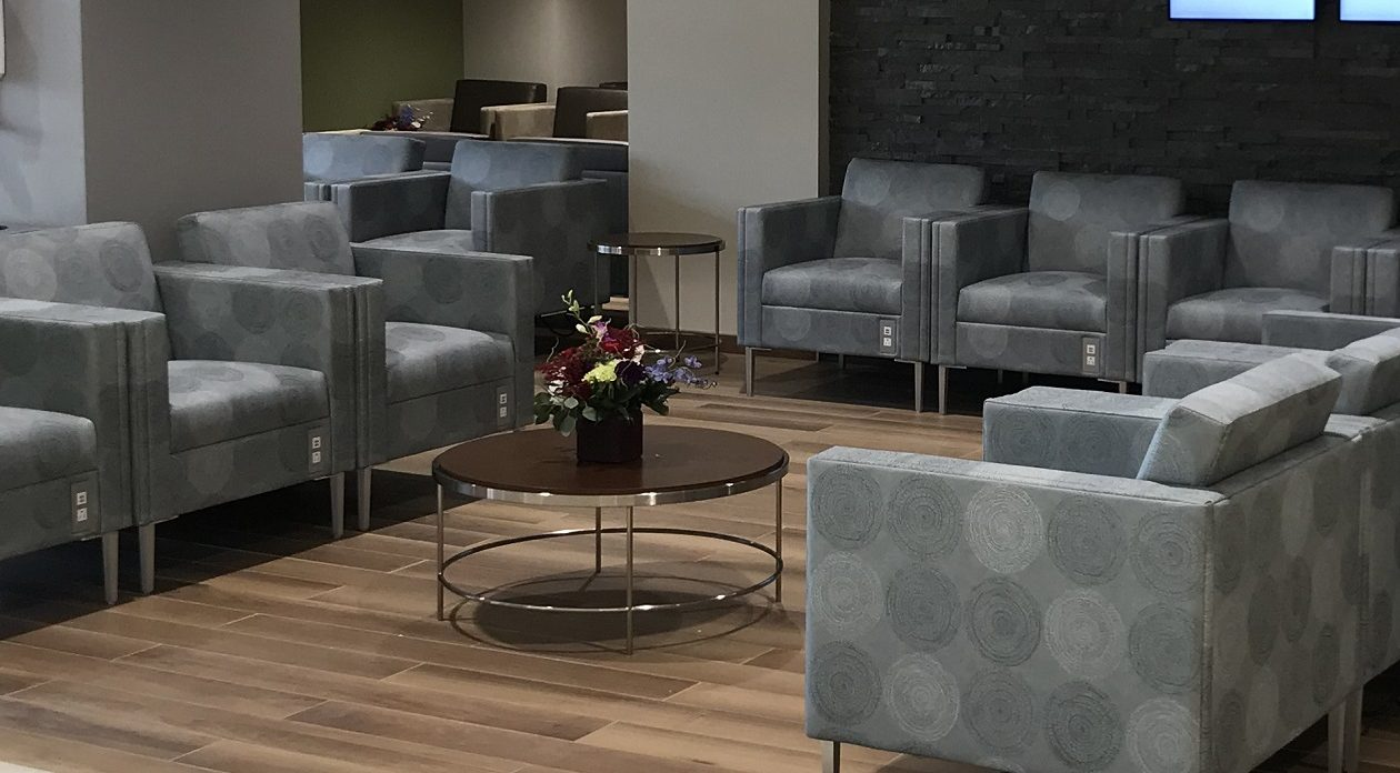 This waiting area in the Buffalo General Medical Center lobby was upgraded as part of $5 million in capital improvements.