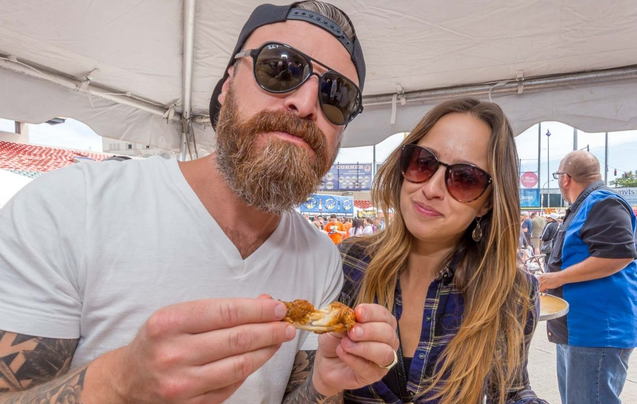 Smiling faces at the 2017 National Buffalo Wing Festival at Coca-Cola Field. The event returns this weekend at the same location. (Don Nieman/Special to The News)