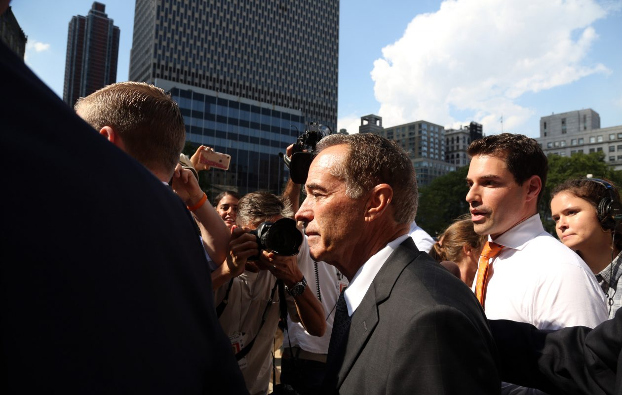 Rep. Chris Collins leaving a Manhattan courthouse in August. (Jefferson Siegel/Special to The News)