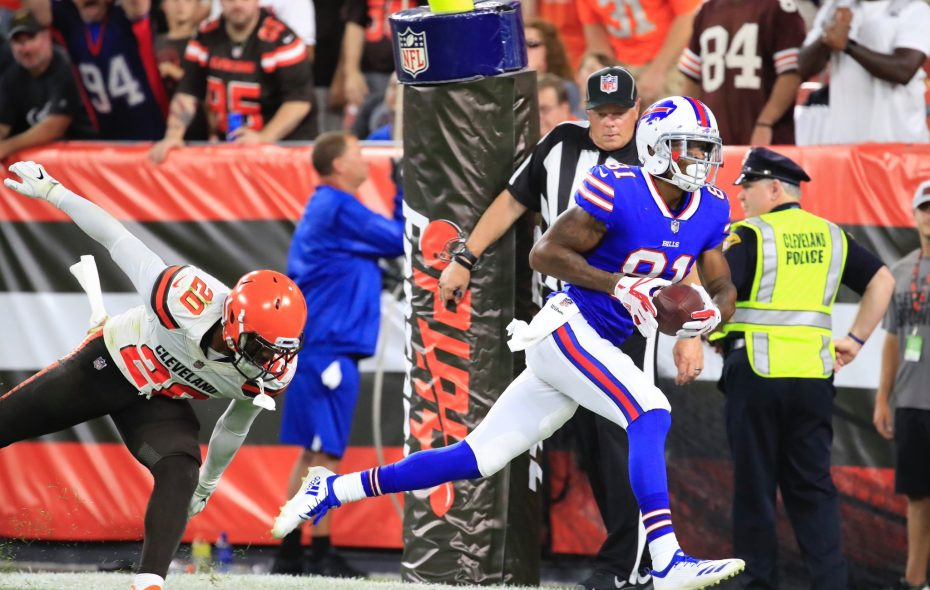 Wide receiver Rod Streater hauls in a touchdown catch from quarterback Josh Allen in the second quarter during a preseason game against Cleveland. (Harry Scull Jr./Buffalo News)