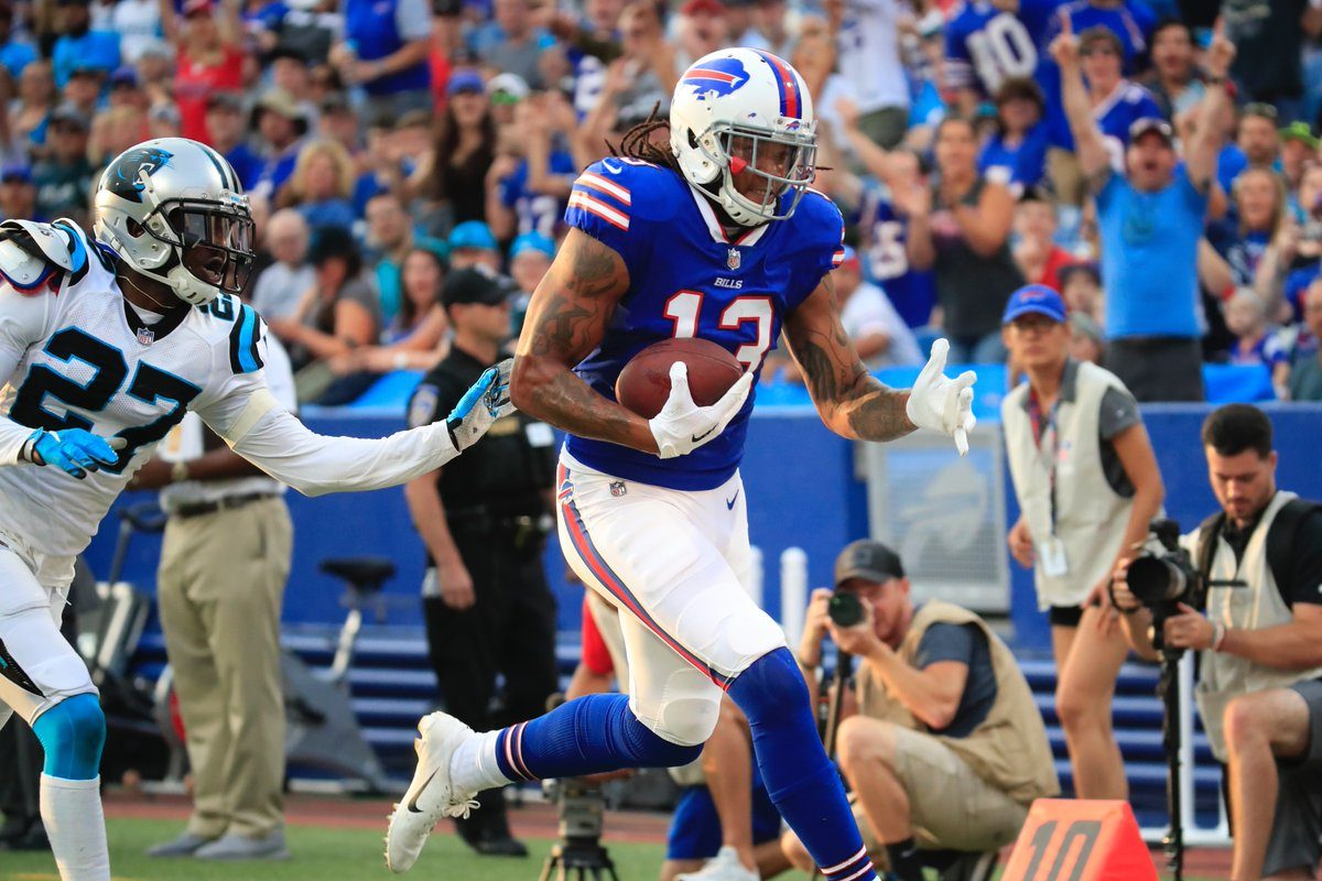 Buffalo Bills Kelvin Benjamin catches a touchdown pass during the first quarter of the Bills vs. Panthers game on Aug. 9, 2018, at New Era Field. (Harry Scull Jr./Buffalo Bills)