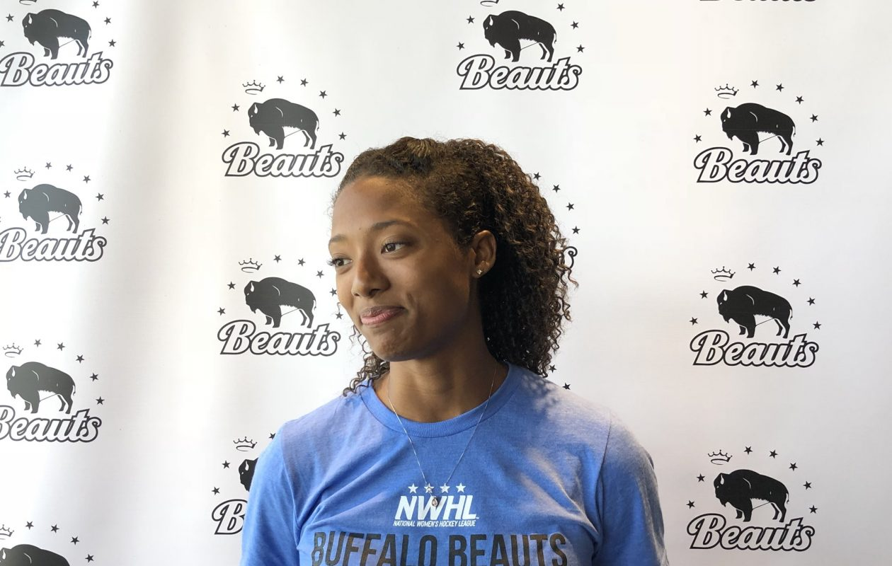 Blake Bolden met with the media on Tuesday as she joined the Buffalo Beauts.