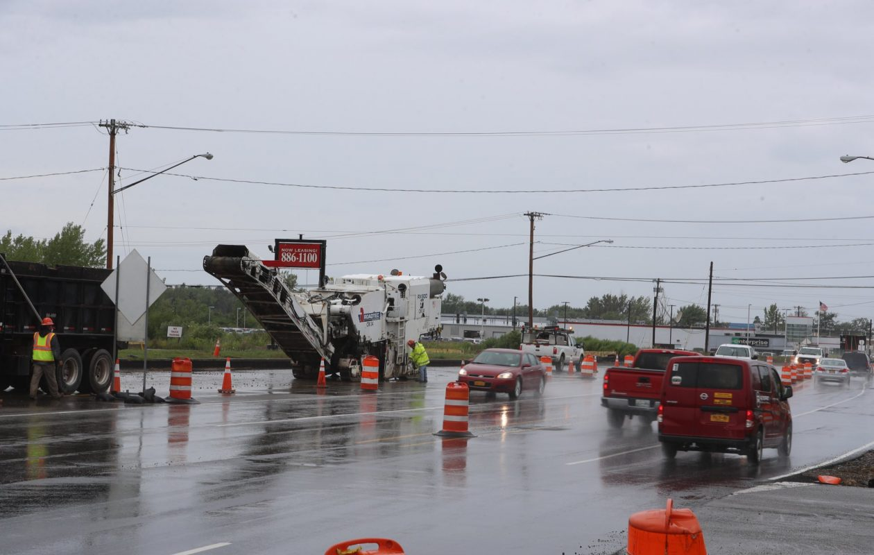 Rain falls on Camp Road in Hamburg as construction continues by the Thruway exit. (John Hickey/Buffalo News)
