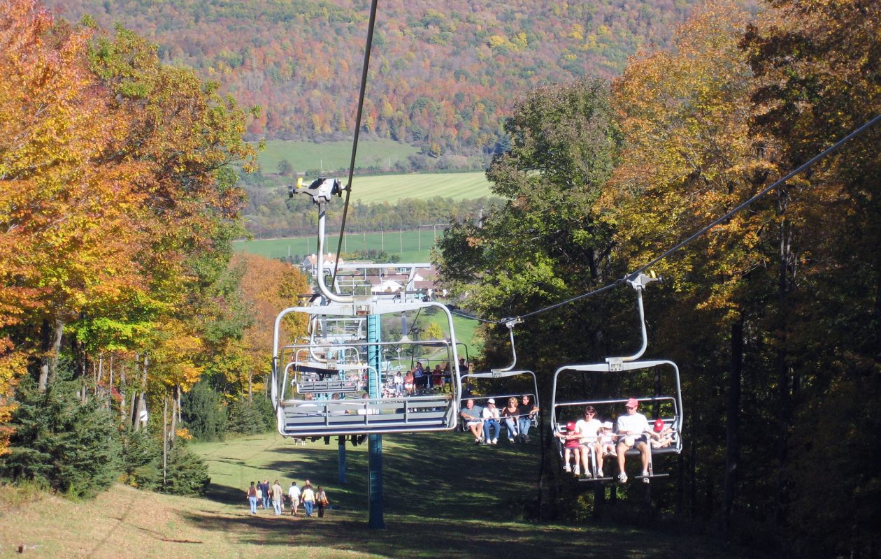 Chairlift rides up to Spruce Lake are $8 through Oct. 14 (kids under 2, free).  (Ellicottville Chamber of Commerce)