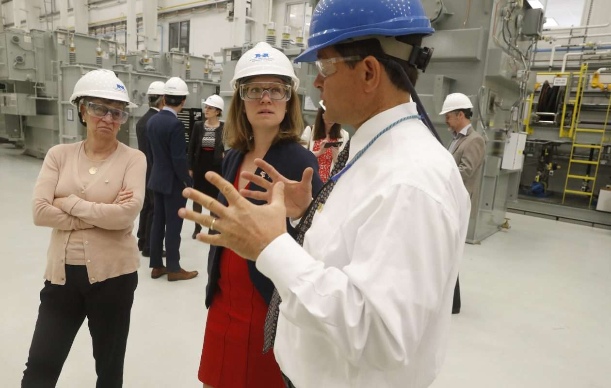 Phyllis Yaffe, Consul General of Canada in New York, left, tours Niagara Transformer during a visit to the region in May 2017. (John Hickey/News file photo)