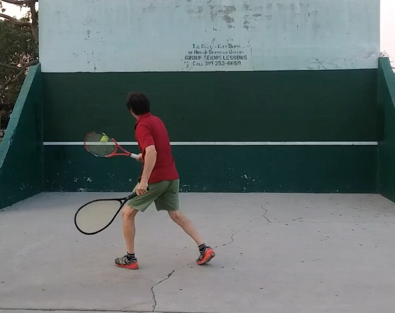 Roger Garland of Los Angeles demonstrates a two-handed tennis approach. (Submitted by Don R. Mueller.)