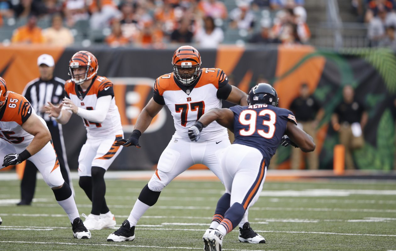 Cincinnati Bengals offensive linemen Cordy Glenn tries to block Chicago Bears linebacker Sam Acho during a preseason game at Paul Brown Stadium on August 9. (Getty Images)