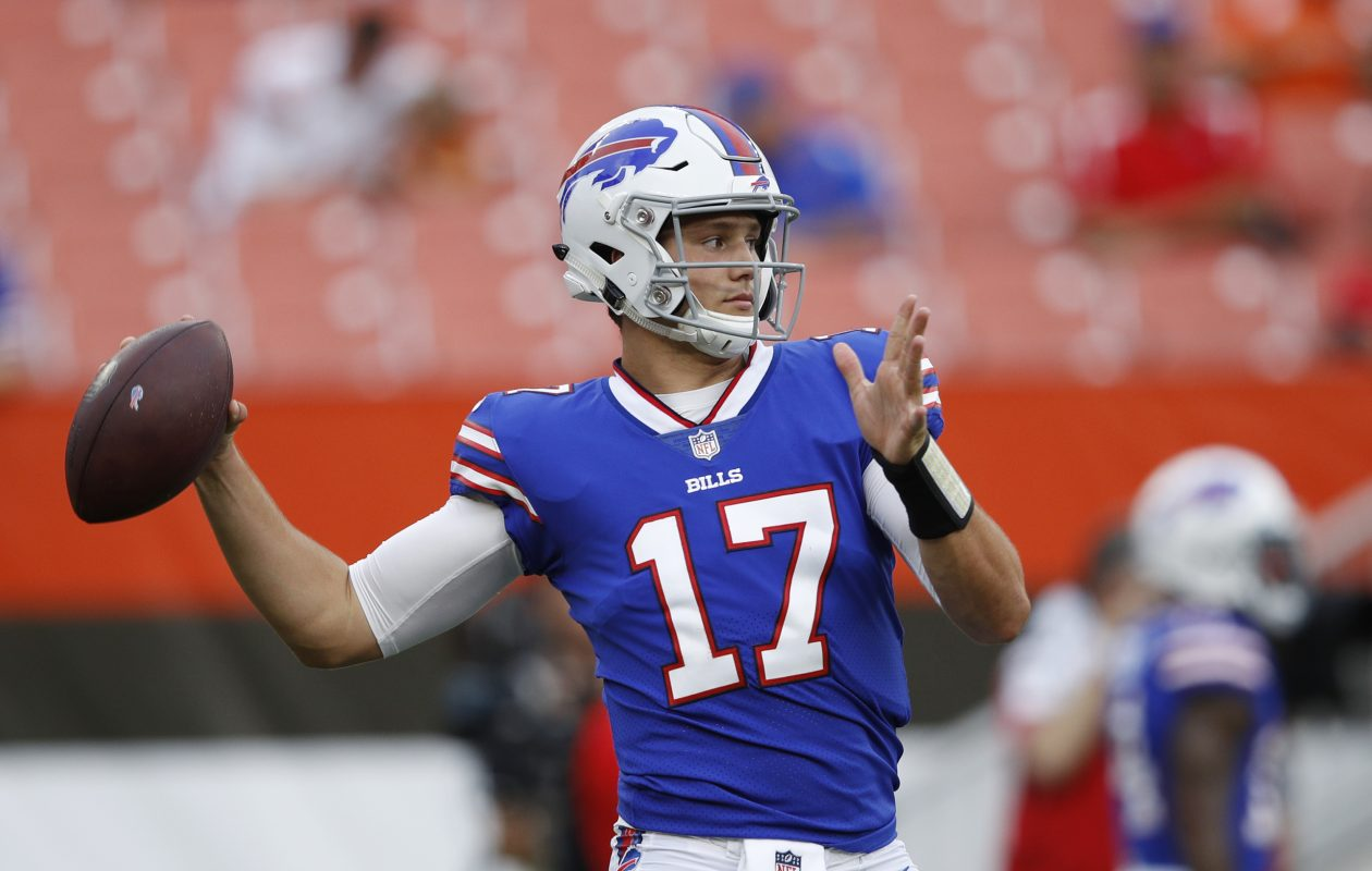Josh Allen (17) of the Buffalo Bills warms up before a preseason game against the Cleveland Browns at FirstEnergy Stadium on Aug. 17, 2018 in Cleveland, Ohio. (Photo by Joe Robbins/Getty Images)