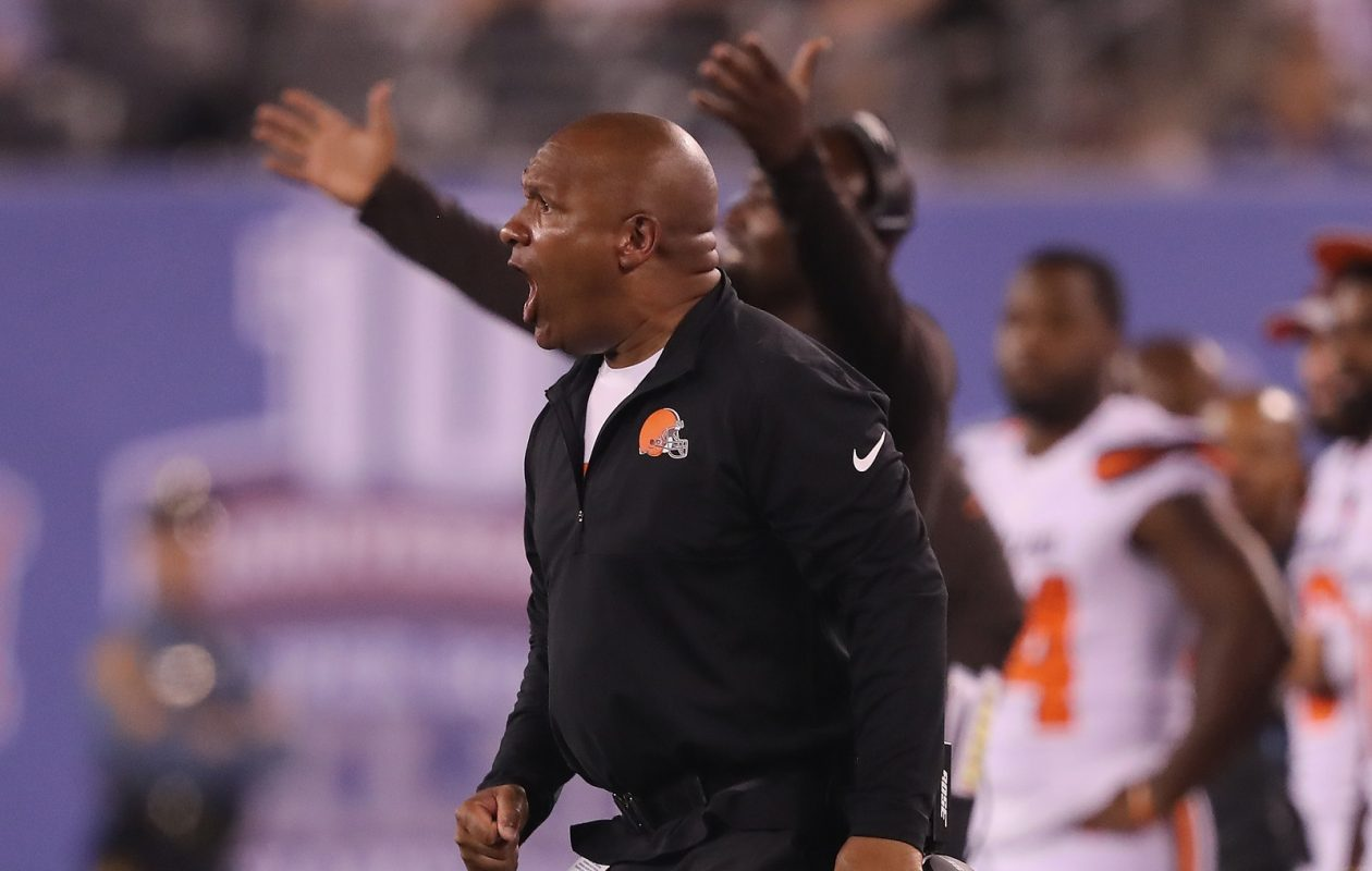Cleveland Browns head coach Hue Jackson has gotten plenty of camera time on HBO's 'Hard Knocks.' (Elsa/Getty Images)