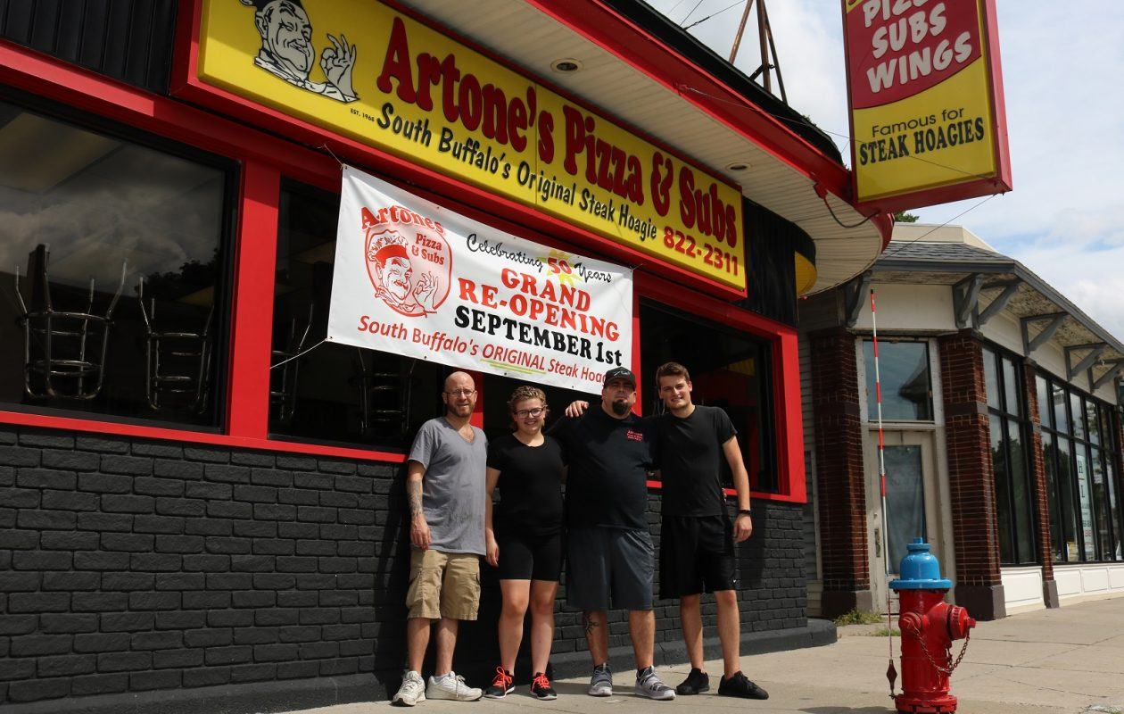 Joe Kurnik, second from right, will open Artones on Sept. 1 with the help of family members. From left is Randall Kurnik, Taylor Kurnik, Joe Kurnik and Joseph Kurnik II. (via Artones)