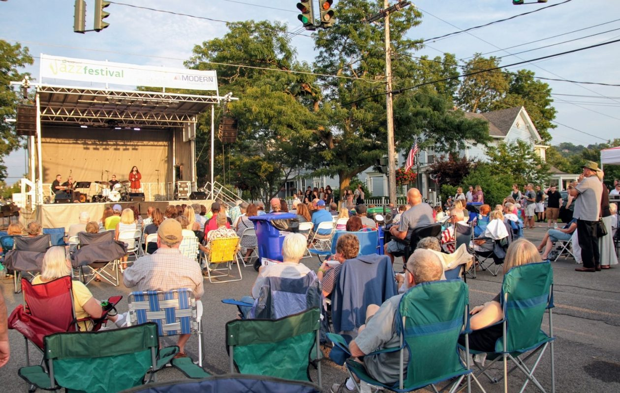 One of five stages on blocked-off Center Street in Lewiston for the Northwest Jazz Festival. (Sarah McIlhatten/Special to The News)