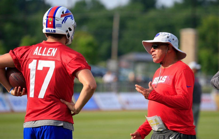 Bills quarterbacks coach David Culley talks with Josh Allen during a 2018 practice. (Harry Scull Jr./Buffalo News)