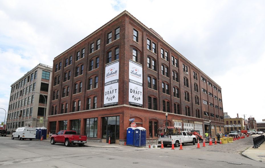 The Labatt House, in the Cobblestone District, will soon include the Labatt Brew House, the Draft Room restaurant, and the corporate headquarters of the two groups bringing off the $20 million renovation of a century-old manufacturing building: Labatt USA and Pegula Sports & Entertainment.  (Harry Scull Jr./ Buffalo News)