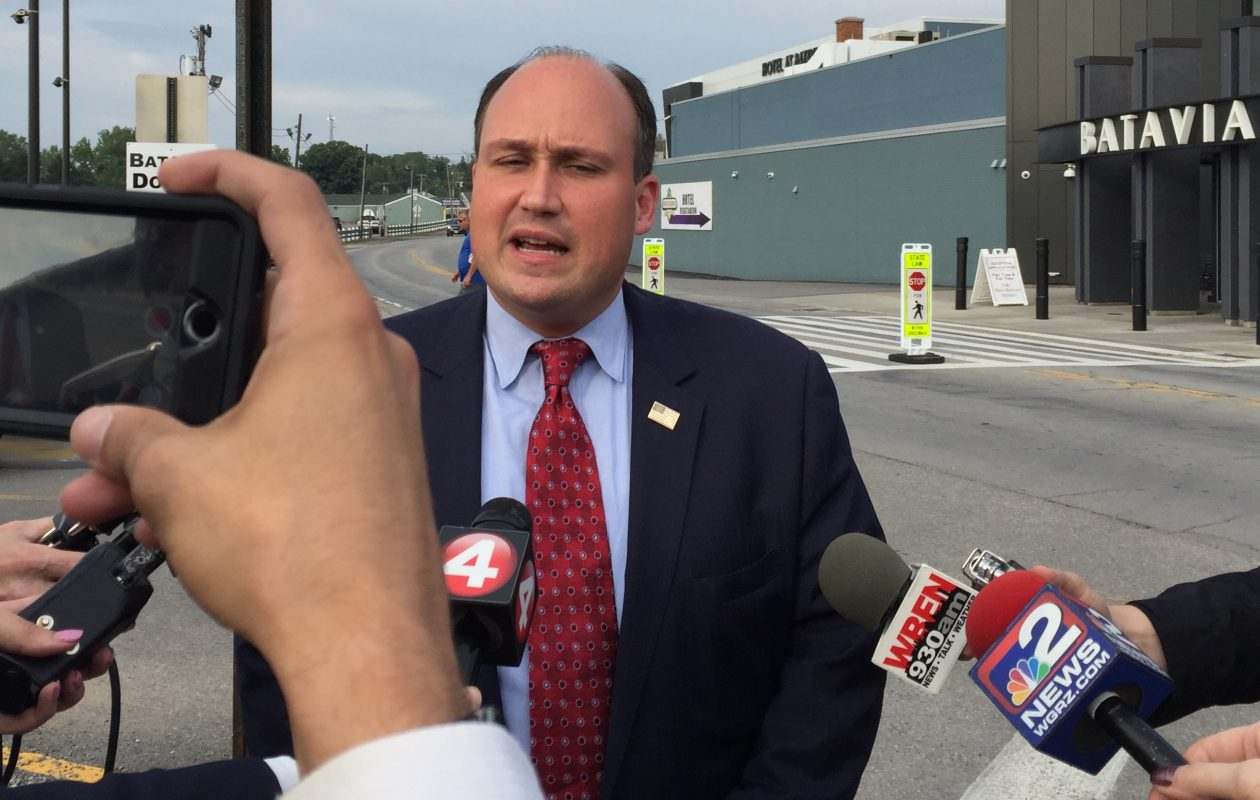 Erie County GOP Chairman Nick Langworthy talks with reporters before meeting with party leaders in Batavia. (Barbara O'Brien/Buffalo News)