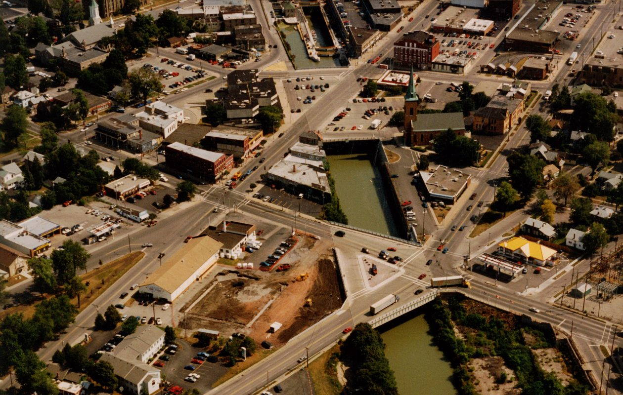 An aerial view of downtown Lockport from a Niagara County Historical Society DVD.(Contributed photo)