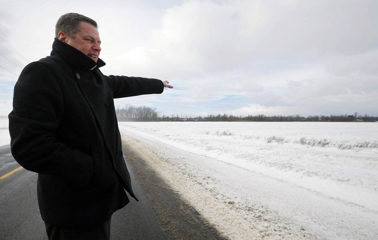 The plan for the Northern Access Pipeline originally called for a compressor station at this site on Killian Road in Pendleton, shown in 2016 by Ronald Kraemer, president of Empire Pipeline. (Derek Gee/News file photo)