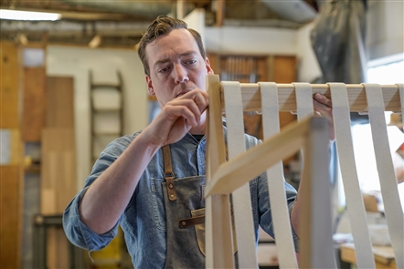 This handmade chair is a labor of love — taking Norman Cramer about a week from first cut to completion.