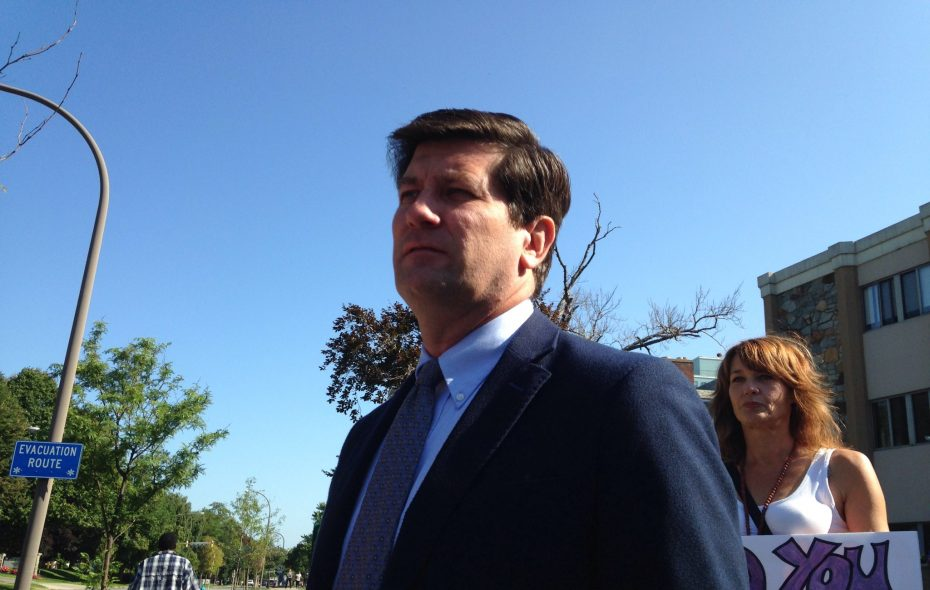 Erie County Executive Mark Poloncarz stood outside the Emerald South nursing home in August 2018 to decry conditions there and call on the state Department of Health to appoint a receiver to take over operation. Many of those comments are now the basis for a defamation suit against him. (Lou Michel / Buffalo News)