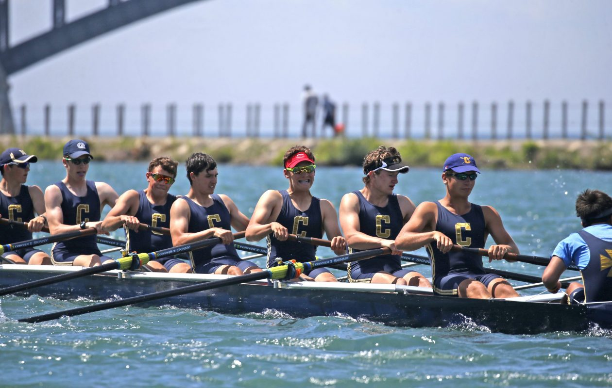 Members of the Canisius eight-man crew during the Fontana All High Buffalo City Rowing Championships near the West Side Rowing Club on Monday, May 30, 2016. (Robert Kirkham/News file photo)