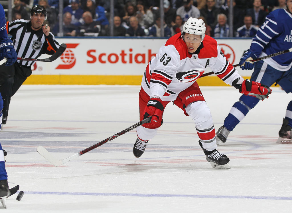 Jeff Skinner was a three-time 30-goal scorer in Carolina (Getty Images).