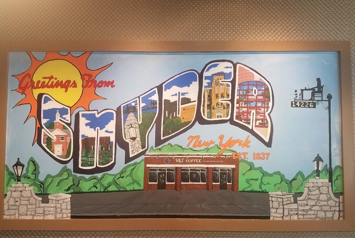 A group of Amherst Central High School students painted this mural inside the new Spot Coffee franchise in Snyder that opens Friday. (Photo courtesy Dan Hensley)