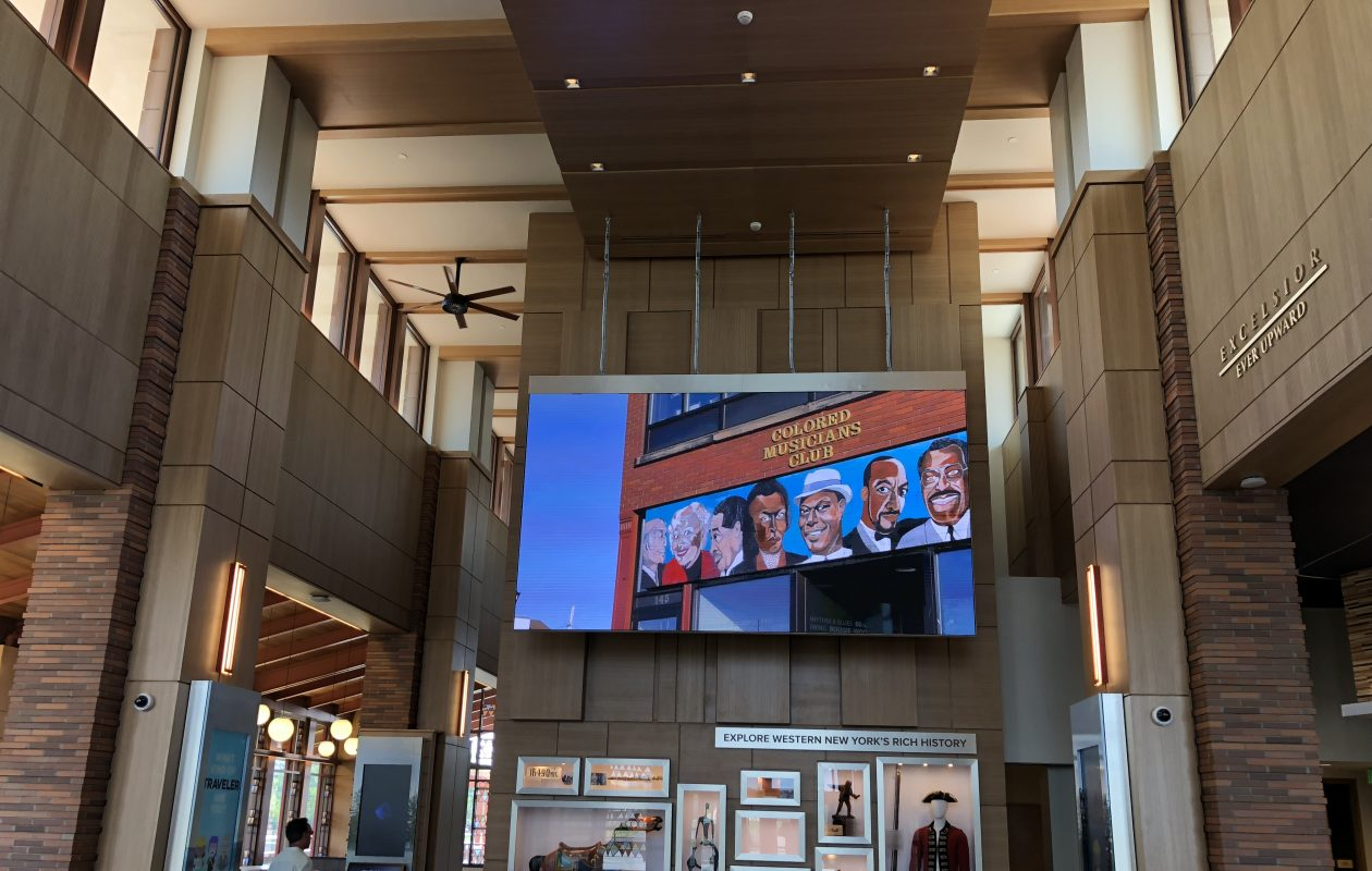 The main lobby of the Western New York Welcome Center, built by the Thruway Authority on Grand Island. It had a soft opening Monday. (Stephen T. Watson/Buffalo News)