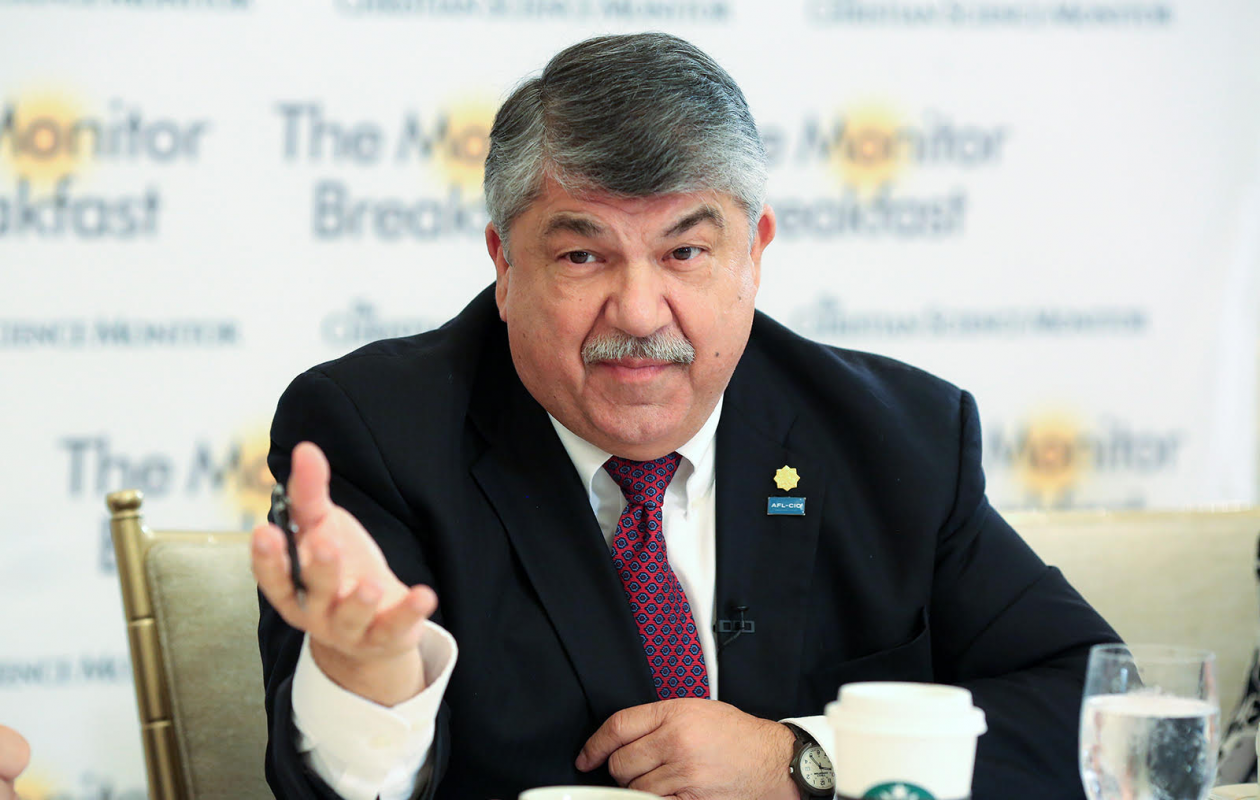 AFL-CIO President Richard Trumka speaks Wednesday at a breakfast sponsored by the Christian Science Monitor. (Michael Bonfigli/The Christian Science Monitor)