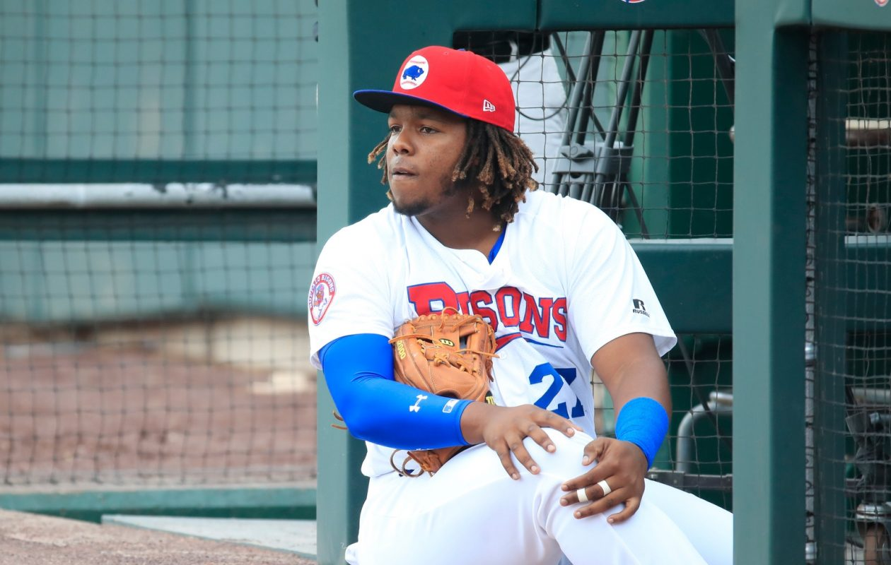 Vladimir Guerrero Jr. waits to take the field Monday night prior to the Bisons' home finale (Harry Scull Jr./News file photo)