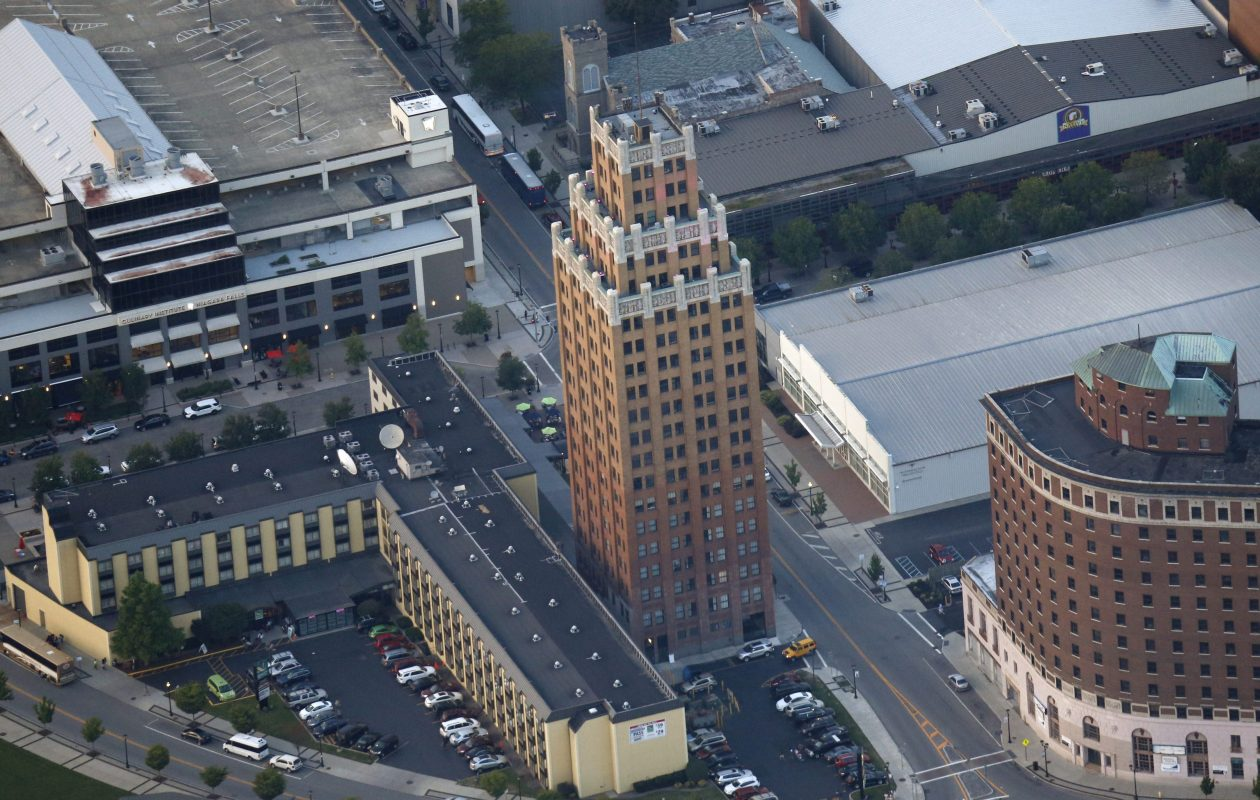A proposal by USA Niagara Development Corp. to buy 32 downtown properties owned by Tuscarora businessman Joseph Anderson includes the Quality Hotel and Suites on First Street, shown, bottom left, in 2014. (Derek Gee/News file photo)