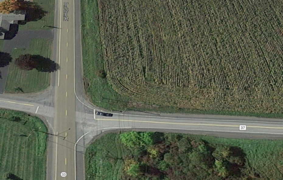 A Google satellite image of intersection that was site of fatal collision Friday in Batavia. (Google images)