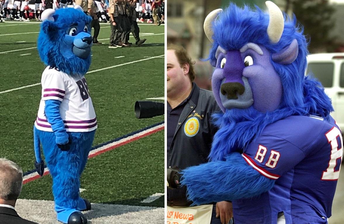 2018 Billy Buffalo, left, compared to the original Billy Buffalo, right. (Left: via @DuffyOnWCMF; right: Robert Kirkham/News file photo)