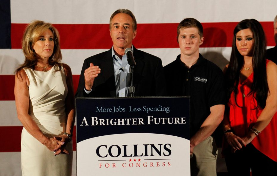 Rep. Chris Collins at an event in Depew with his wife, Mary; son, Cameron; and daughter Caitlin. (Harry Scull Jr./News file photo)
