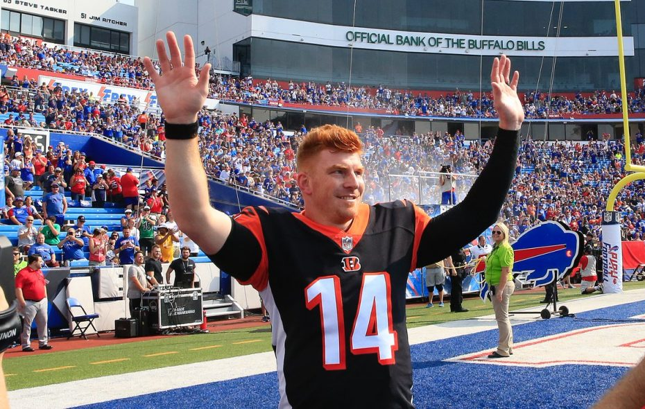 Andy Dalton responds to cheers from the crowd at New Era Field on Sunday. (Harry Scull Jr./Buffalo News)