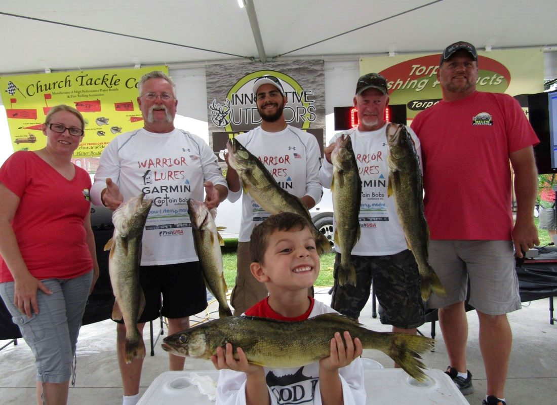Evil Eyes, led by Curt Loveless, won the Innovative Outdoors walleye tournament last weekend out of Dunkirk with a weight of 34.59 pounds. Diane and Jim Steel (on both ends) ran the tournament.