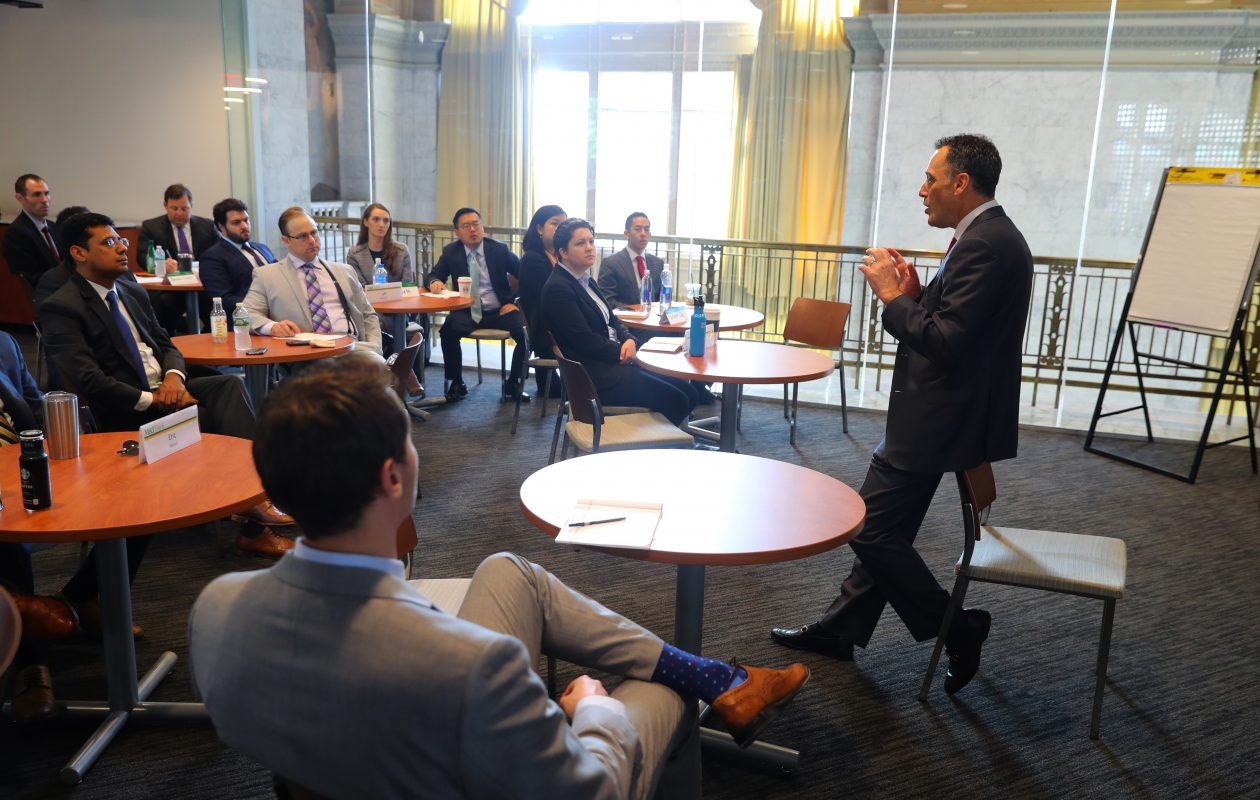 M&T Bank president Richard S. Gold speaks to a class of Executive Associates. (John Hickey/Buffalo News)