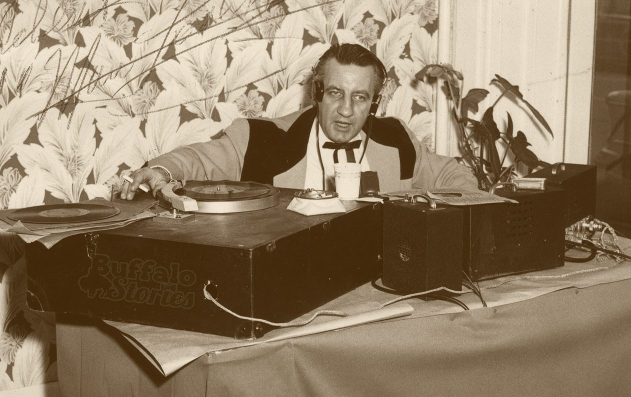 George 'Hound Dog' Lorenz, broadcasting live in the mid 1950s. (From the Collection of Betty Shampoe)