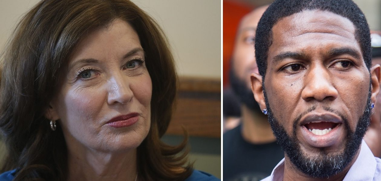 The two Democratic candidates for New York lieutenant governor, incumbent Kathy Hochul and Jumaane Williams, squared off in a debate Wednesday, their only audience a handful of reporters watching on a monitor in an adjoining room. (News file photo of Hochul, Getty Images photo of Williams)