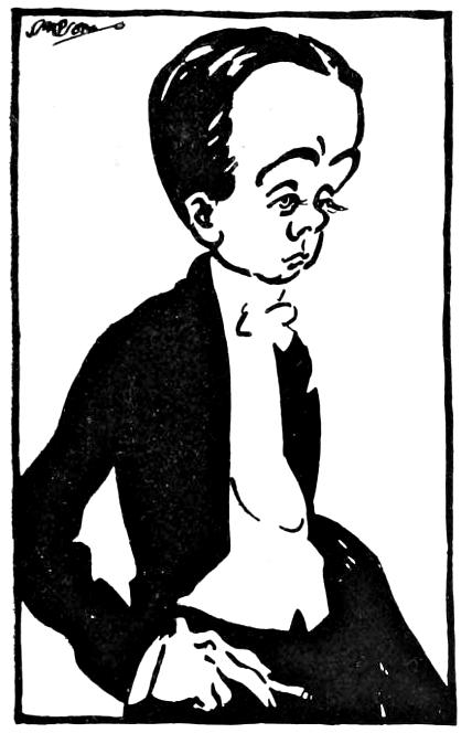 Caricature of Max Beerbohm, circa 1905, by Joseph Simpson. (University of Toronto/the Internet Archive http://www.victorianweb.org/authors/mb/simpson1.html)