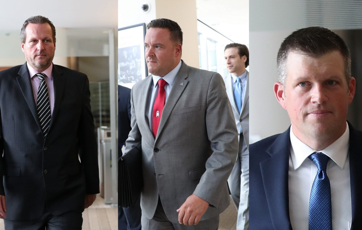 Gregory Kwiatkowski, left, testified against Buffalo Police officers Joseph Wendel, center, and Raymond Krug, right, in a police brutality case. (Sharon Cantillon/News file photo)