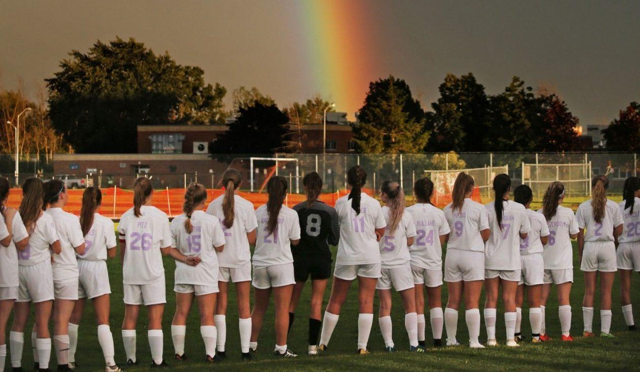 A rainbow appeared just as the Iroquois/Cheektowaga girls varsity soccer game was about to begin Aug. 29 in Cheektowaga. (Robert Kirkham/Buffalo News)