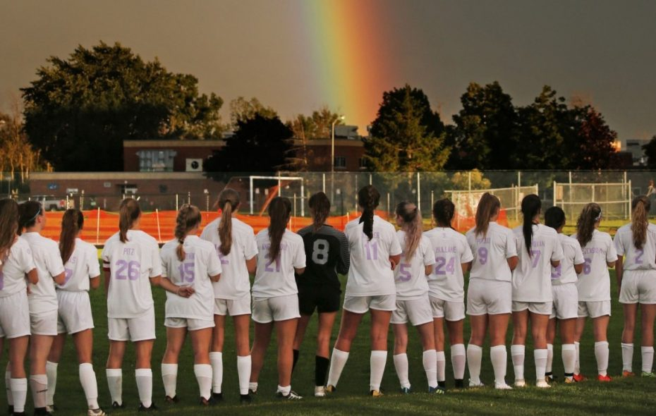 A rainbow appeared just as the Iroquois/Cheektowaga girls varsity soccer game was about to begin Aug. 29 in Cheektowaga. (Robert Kirkham/Buffalo News)
