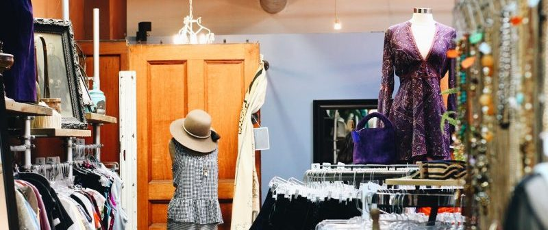 Second Chic, a consignment boutique on Elmwood Avenue, aims to style used clothing in inventive ways. (Francesca Bond/Buffalo News)