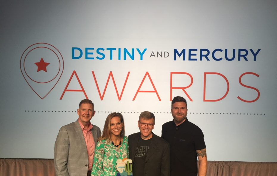VBN President and CEO Patrick Kaler, Director of Marketing Karen Fashana, Vice President of Marketing Ed Healy and Marketing Manager Drew Brown accept the Destiny Award. (Contributed photo)